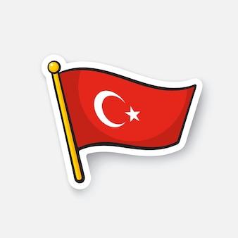 Vektor-illustration flagge der türkei auf fahnenmast standortsymbol für reisende cartoon-aufkleber