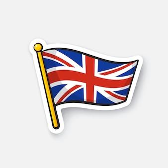 Vektor-illustration flagge des vereinigten königreichs standortsymbol für reisende cartoon-aufkleber
