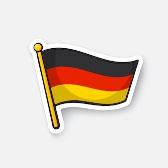 Vektor-illustration flagge deutschlands auf fahnenmast standortsymbol für reisende cartoon-aufkleber