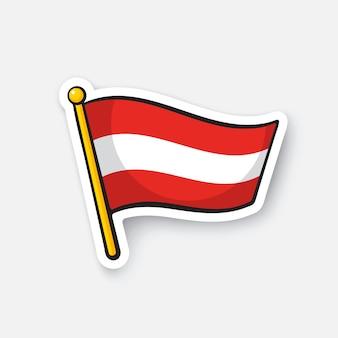 Vektor-illustration flagge österreichs auf fahnenmast standortsymbol für reisende cartoon-aufkleber