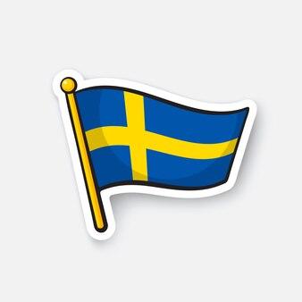 Vektor-illustration flagge von schweden auf fahnenmast standortsymbol für reisende cartoon-aufkleber