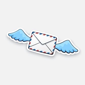 Vektor-illustration fliegender geschlossener briefumschlag mit flügeln eingehende nachricht nicht gelesen