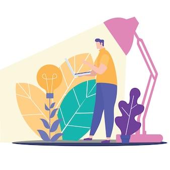 Vektor-illustration. frische idee. ideengenerierung.
