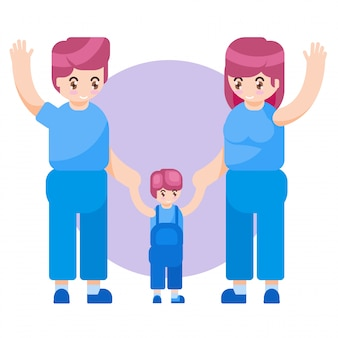 Vektor-illustration glücklicher mutter-tages-familien-eltern