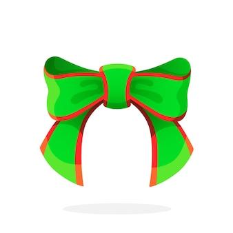 Vektor-illustration. grüne weihnachtsschleife aus band. isoliert auf weißem hintergrund