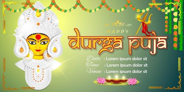 Vektor-illustration gruß von happy durga puja, göttin durga gesicht in subh navratri abstrakten hintergrund.