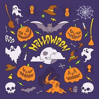 Vektor-illustration halloween-party-elemente set von icons im cartoon-stil