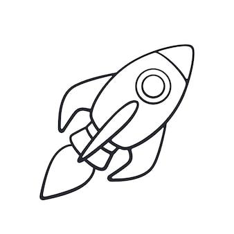 Vektor-illustration hand gezeichnetes doodle des raketenraums mit einer flamme aus einer turbine