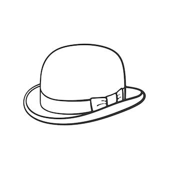 Vektor-illustration hand gezeichnetes doodle von retro-melone vintage eleganter hut