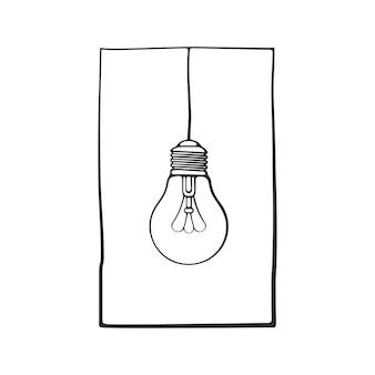 Vektor-illustration hand gezeichnetes gekritzel der glühbirne auf dem draht in einem rahmen