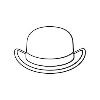 Vektor-illustration hand gezeichnetes gekritzel der vorderansicht des retro- melonenhutes