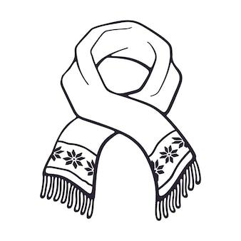 Vektor-illustration hand gezeichnetes gekritzel des winterschals mit schneeflockenmuster