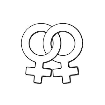 Vektor-illustration hand gezeichnetes gekritzel mit weiblichem homosexuellem venussymbol geschlechtspiktogramm
