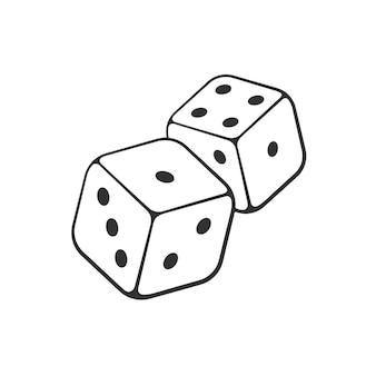 Vektor-illustration hand gezeichnetes gekritzel von zwei weißen würfeln mit kontur glücksspielsymbol