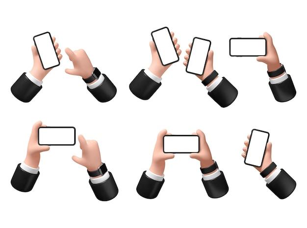 Vektor-illustration hand mit einem smartphone auf weißem hintergrund 3d-darstellung geschäftsmann hält ein telefon in der hand mit einem leeren bildschirm