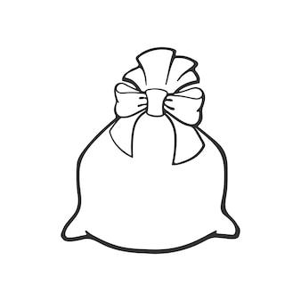 Vektor-illustration handgezeichnete doodle tasche voller geschenke mit band