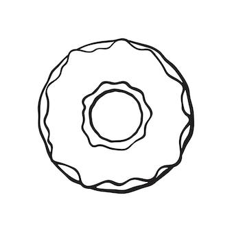 Vektor-illustration handgezeichnete doodle von donut mit glasur cartoon-skizze