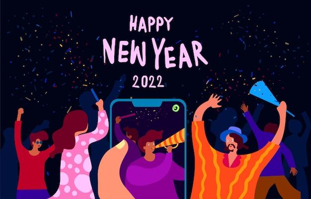 Vektor-illustration happy new 2022 year party auf social media