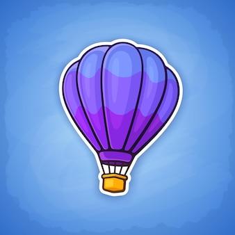 Vektor-illustration heißluftballon auf himmelshintergrund sommerreise mit dem flugzeug