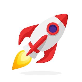 Vektor-illustration im flachen stil rakete raumschiff mit einer flamme aus einer turbine