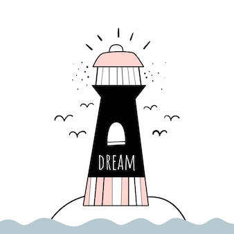 Vektor-illustration im skandinavischen stil leuchtturm