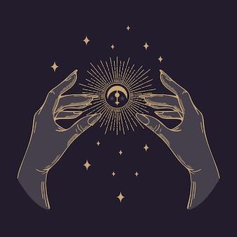 Vektor-illustration im vintage-stil. die goldenen hände der frauen halten die sonne, den mond. halloween, magie, hexerei, astrologie, mystiker. für poster, postkarten, banner, stoffdruck, tattoo-design