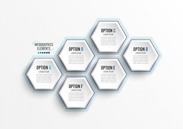 Vektor-illustration infografiken 6 optionen. vorlage