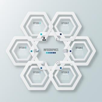 Vektor-illustration infografiken 6 optionen.