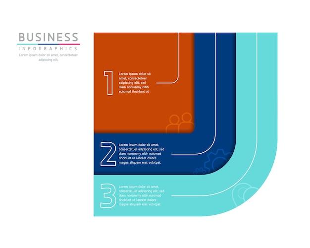 Vektor-illustration infografiken design-vorlage marketinginformationen mit 3 optionen oder schritten