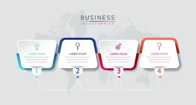 Vektor-illustration infografiken design-vorlage marketinginformationen mit 4 optionen oder schritten