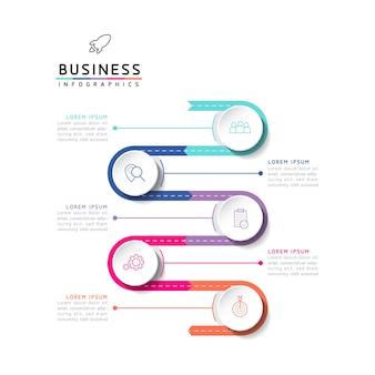 Vektor-illustration infografiken design-vorlage marketinginformationen mit 5 optionen oder schritten