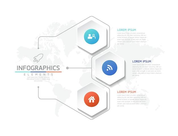 Vektor-illustration infografiken designvorlage geschäftsinformationen präsentationsdiagramm 3 schritte