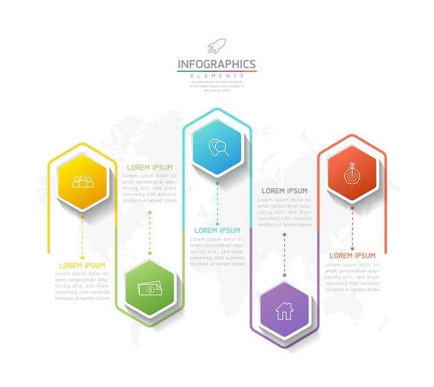 Vektor-illustration infografiken designvorlage geschäftsinformationen präsentationsdiagramm 5 schritte