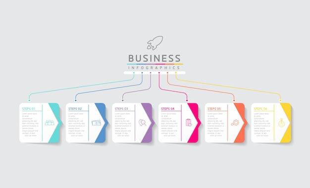 Vektor-illustration infografiken designvorlage marketinginformationen mit 6 optionen oder schritten