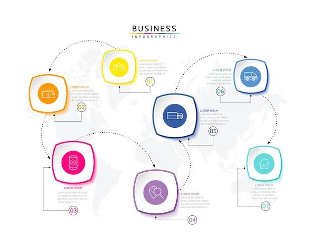Vektor-illustration infografiken designvorlage marketinginformationen mit 7 optionen oder schritten