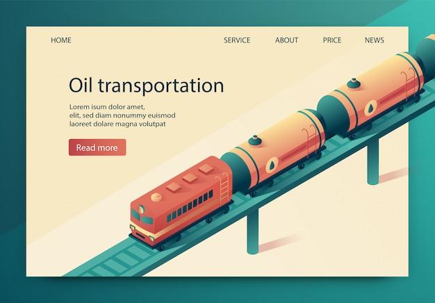 Vektor-illustration ist öltransport geschrieben.