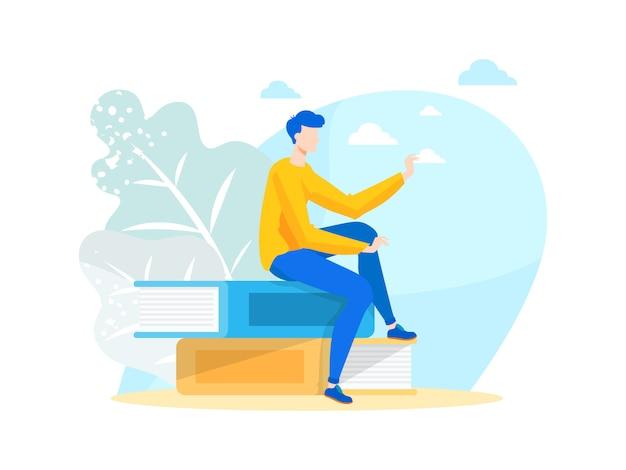 Vektor-illustration junger mann-buch-liebhaber, der auf büchern sitzt.