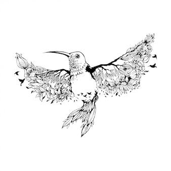 Vektor-illustration kolibri mit blumen