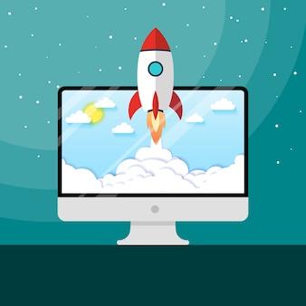 Vektor-illustration konzept raketenstart