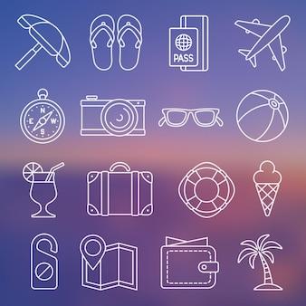 Vektor-illustration. linie-icon-set. tourismus und reisen in schlichtem design