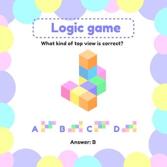 Vektor-illustration logikspiel für kinder im vorschul- und schulalter. was ist der blick von rechts oben