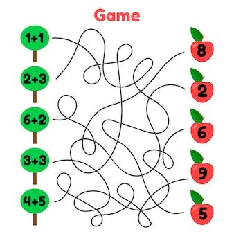 Vektor-illustration mathe-spiel für kinder im schul- und vorschulalter. labyrinth. löse die beispiele. komplizierte straße. bäume und äpfel.