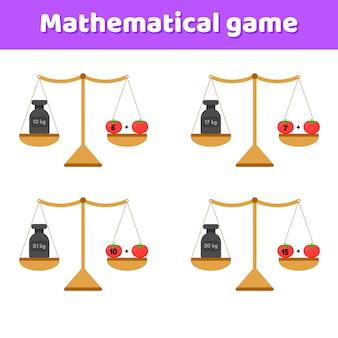 Vektor-illustration mathe-spiel für kinder im schul- und vorschulalter. waagen und gewichte. zusatz. gemüse tomaten.