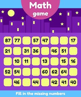 Vektor-illustration mathe-spiel für kinder im vorschul- und schulalter. fülle die fehlenden zahlen aus. finde eine sequenz.