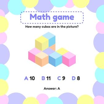 Vektor-illustration mathematisches logikspiel für kinder im vorschul- und schulalter. wie viele würfel auf dem bild