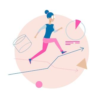 Vektor-illustration mit laufendem mädchen ambitioniertes konzept der jungen frau weibliche mitarbeiterführung
