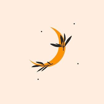 Vektor-illustration mit logo-elementböhmische magische strichzeichnungen von goldmond crescentstars