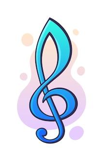 Vektor-illustration. musikalischer symbol violinschlüssel. grafikdesign mit kontur. clipart-druck für verpackung, schild, vitrine, grußkarte. isoliert auf weißem hintergrund