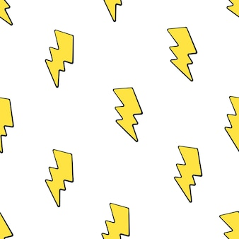 Vektor-illustration nahtloses muster mit niedlichen gelben elektrischen blitzen auf weißem hintergrund