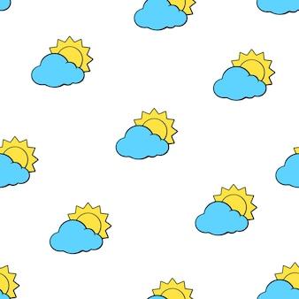 Vektor-illustration nahtloses muster mit sonnen verschwand hinter blauen wolken auf weißem hintergrund